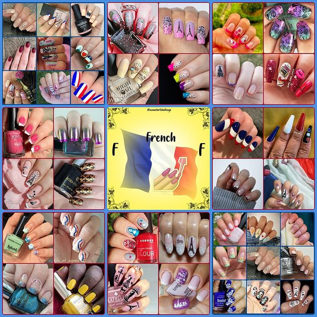 #AZNailArtChallenge - 'F' is for French collage